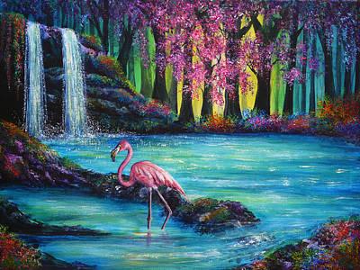 Flamingo Falls Poster by Ann Marie Bone