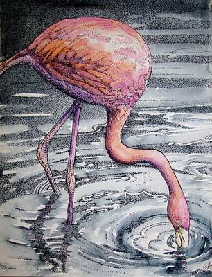 Flamingo Fishing  II Poster by Martha Ayotte