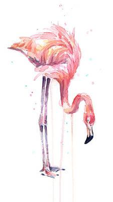 Flamingo Painting Watercolor Poster by Olga Shvartsur
