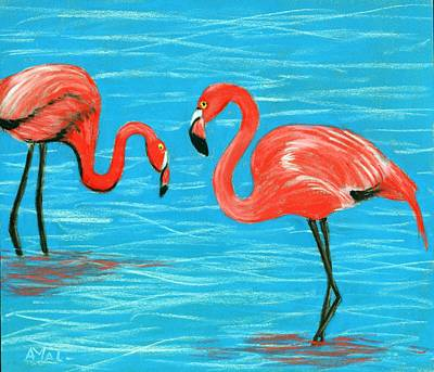 Poster featuring the painting Flamingos by Anastasiya Malakhova