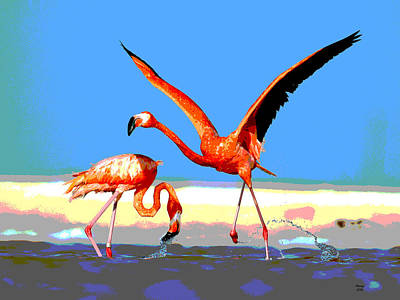 Flamingos Poster by Charles Shoup