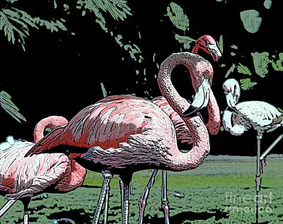 Poster featuring the photograph Flamingos I by Jim and Emily Bush