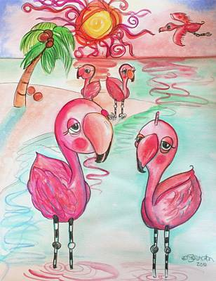 Flamingos In The Sun Poster