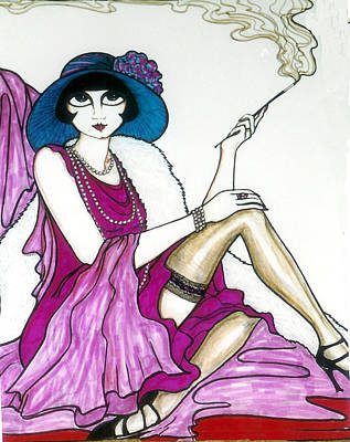Poster featuring the greeting card Flapper Girl 4 by Rae Chichilnitsky