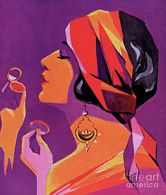 Flapper In A Scarf Applying Makeup, 1923 Poster by American School
