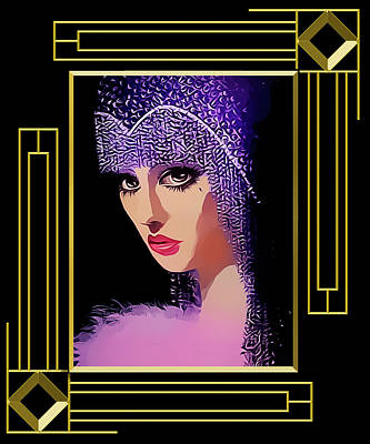 Flapper In Purple Hat - Framed Poster by Chuck Staley
