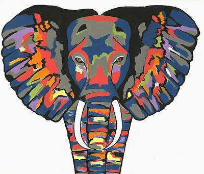 Flashy Elephant - Contemporary Animal Painting Poster
