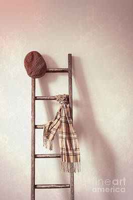 Flat Cap And Scarf On Rustic Ladder Poster by Amanda Elwell