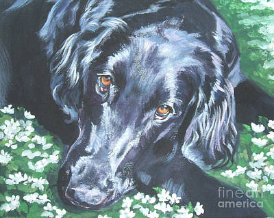 Poster featuring the painting Flat Coated Retriever by Lee Ann Shepard