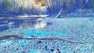 Flat Rock River Columbus Indiana - Blue Abstract Poster