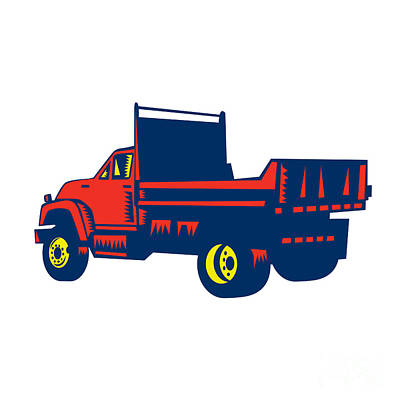 Flatbed Truck Woodcut Poster