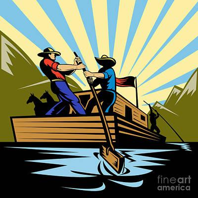 Flatboat Along River Poster