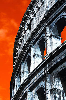 Flavian Amphitheater Pop Art Poster