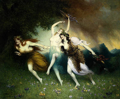 Fleeing Nymphs Poster by Ferdinand Leeke