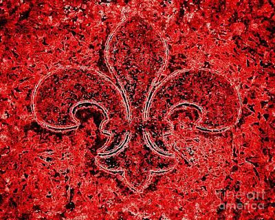 Fleur De Lis Red Ice Poster
