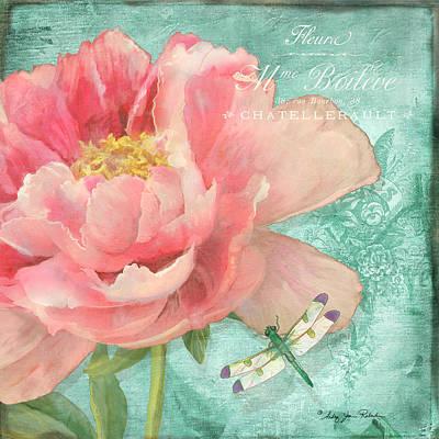 Fleura - Peony Garden Poster by Audrey Jeanne Roberts