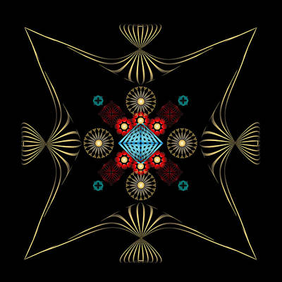 Poster featuring the digital art Fleuron Composition No. 1 by Alan Bennington