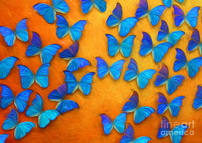 Flight Of The Blue Butterflies Poster by Barbara McMahon