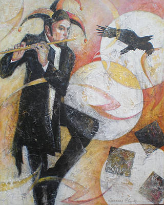 Flight Of The Crow - Jester Playing A Flute Poster by Susanne Clark