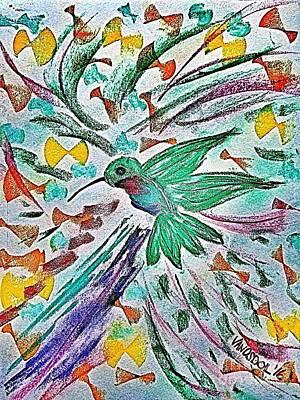 Flight Of The Hummingbird - Blue Tinted Poster