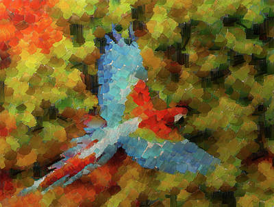 Flight Of The Macaw Poster by Mario Carini
