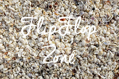 Flip Flop Zone Seashell Background Poster