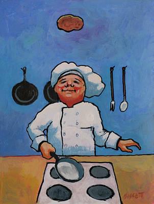 Flipping Pancakes Poster by Robert Bissett