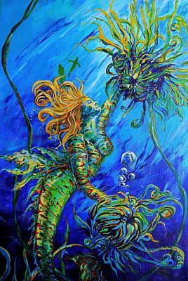 Floating Blond Mermaid Poster