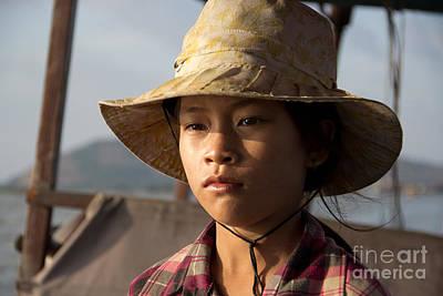 Floating Drink Seller Girl On The Tonle  Sap Lake In Cambodia Poster by Jason Rosette