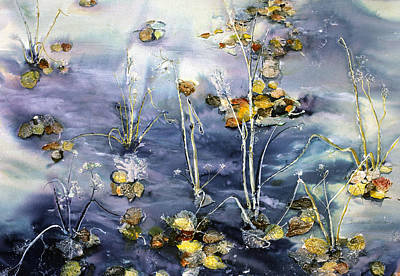 Floating Pond Leaves Poster