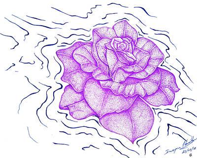 Floating Purple Rose  Poster by Dwayne Hamilton