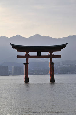 Floating Torii At Itsukushima Shrine Miyajima Japan Poster by Andy Smy