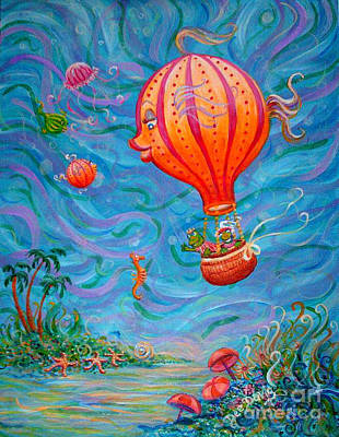 Poster featuring the painting Floating Under The Sea by Dee Davis