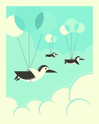 Flock Of Penguins Poster
