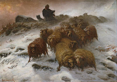 Flock Of Sheep In The Storm Poster by August Friedrich Schenck