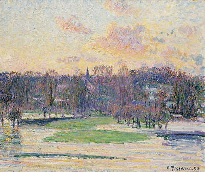 Flood At Sunset Poster by Camille Pissarro