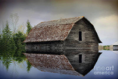 Flooded Barn Poster