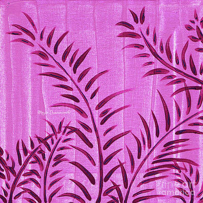 Flora Fauna Tropical Abstract Leaves Painting Magenta Splash By Megan Duncanson Poster