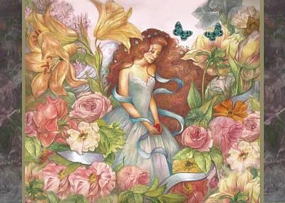 Floral Angel Glamorous Botanical Poster
