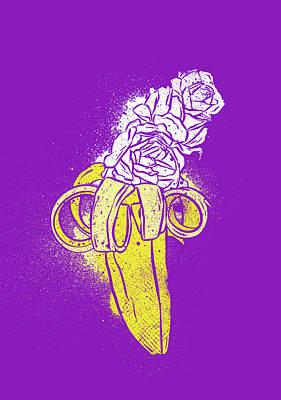 Floral Banana Poster by Evgenia Chuvardina