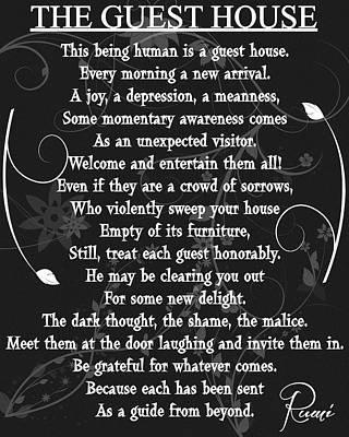 Floral Guest House Poem Poster by Dan Sproul