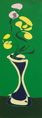 Poster featuring the painting Floral On Green by John Gibbs