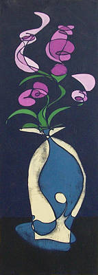 Poster featuring the painting Floral On Indigo by John Gibbs