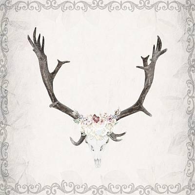 Floral Reindeer Skull  Poster