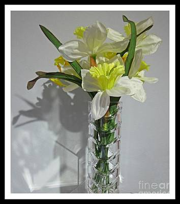 Floral Still Life In Crystal Vase Poster by John Malone