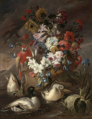 Floral Still Life With A Parrot And Ducks Poster