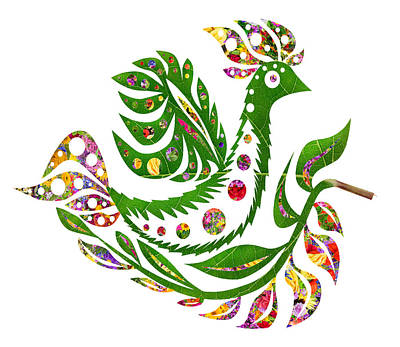Floral Summer  Bird Phoenix Poster by Aleksandr Volkov
