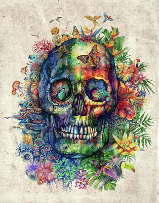Floral Tropical Skull Poster by Bekim Art