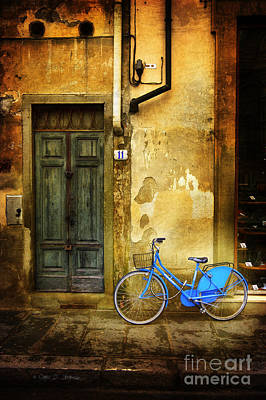 Florence Blue Bicycle Poster by Craig J Satterlee