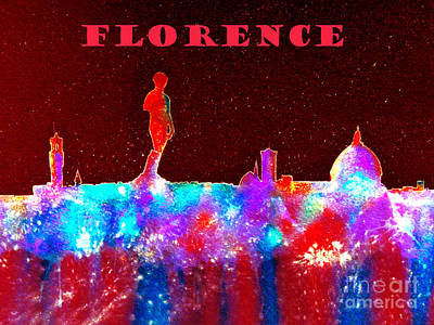 Florence Italy Skyline - Red Banner Poster